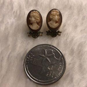 Cameo earrings 14kgf vintage earring backs are 14k